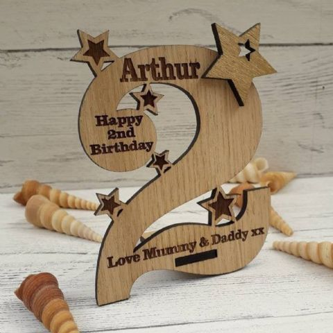 Personalised Second 2nd Birthday Card Oak Wooden Keepsake Gift